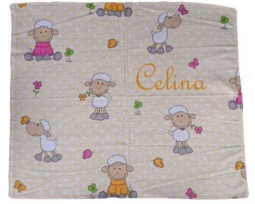 Baby Spucktuch Schaf mit Namen bestickt Spucktücher Mullwindeln personalisiert