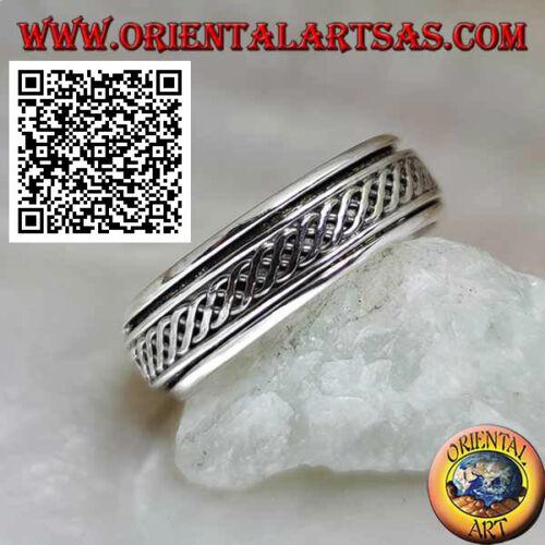 Anello in Argento 925‰ fedina girevole antistress,due linee ondulate intrecciate