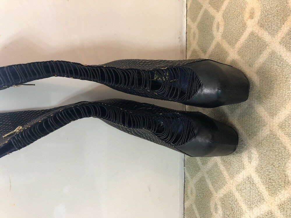 London Trash Crucify Crucify Crucify Wedge Strappy High Heel  Leather Boots 8 gold Snake Black 610836