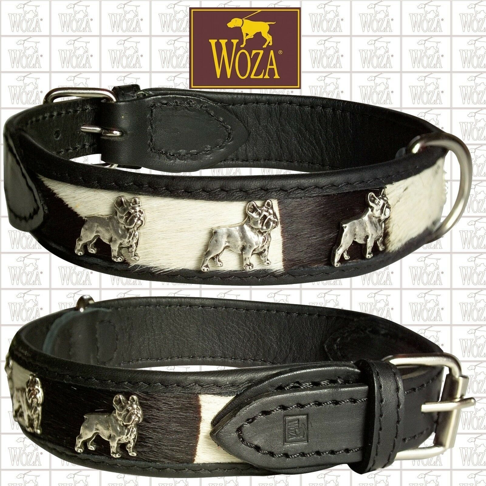Premium French Bulldog Collar WOZA Fur Leather Padded Soft Cow Napa Handmade CFY