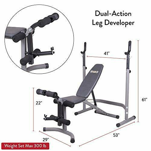 2 Details about  / Olympic Weight Bench with Leg Extension Curl Lift Developer Attachment