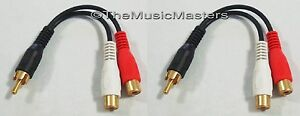 2-Premium-RCA-Audio-034-Y-034-Cable-Adapter-HQ-Splitter-1-Male-to-2-Female-Jacks-VWLTW