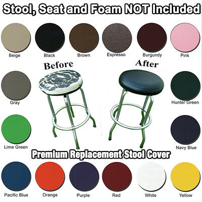 Kitchen Bar Stool Cover Office ELASTIC SLIP ON Black Vinyl Replacement Top
