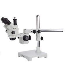 Amscope 7x 45x Simul Focal Zoom Trinocular Stereo Microscope Locking Single Boom