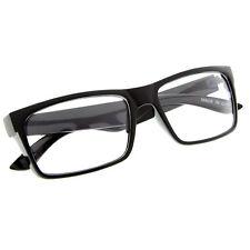 Black Frame Glasses Fashion Rectangle Fake Nerd Interview Smart Clear Lens UV400