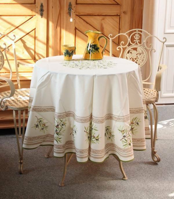 ACRYLIC COATED COTTON ROUND 71  + 5 NAPKINS OLIVES blanc FRENCH TABLECLOTH, NEW