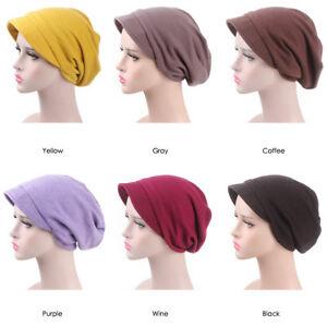 Girl Women Cap Chemo Wrap Head Hijab Baggy Hat Turban Visor Brim ... 4859448f32e