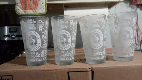 SET OF 4 WOODCHUCK HARD CIDER GIVE A CHUCK 16 OUNCE BEER PINT GLASSES BRAND NEW