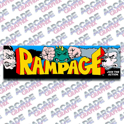 Arcade1up Cabinet Rampage Arcade Game Marquee Graphic Decal Sticker