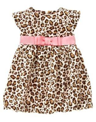 NWT Gymboree 3 6 12 18 PARISIAN CHIC Leopard Corduroy Pink Bow Dress Overall Set
