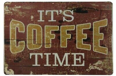 It S Coffee Time Cafe Bar Pub Tin Metal Sign Office Decoration