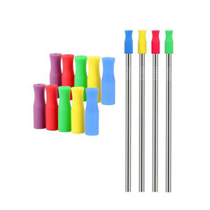 20x-Metal-Drinking-Straws-Reusable-Stainless-Steel-Rubber-Silicone-Tips-Set