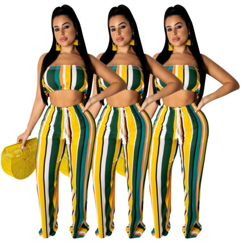 Women Stripe Print BoatNeck Strapless Chest Wide Legs Casual Summer Jumpsuit 2pc