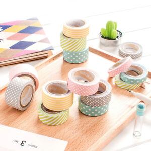 5-ROTOLI-fai-da-te-autoadesivo-carta-Washi-Nastro-Adesivo-Etichetta-Sticker-Decorazione-Craft