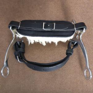 HILASON-SIDE-STAINLESS-STEEL-HORSE-HACKAMORE-BIT-W-BLACK-LEATHER-U-3088