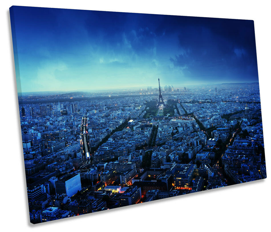 Paris Skyline City Blau Sunset CANVAS WALL WALL WALL ART SINGLE Picture Print efb591