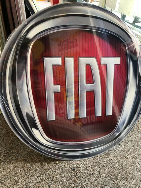 Fiat Repro Round Metal Sign