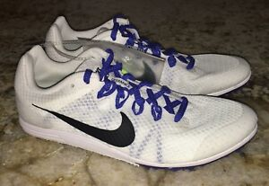 12dff2845ae NIKE RIVAL D 9 White Black Mid Distance Track Spikes Shoes Women 7 8 ...