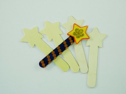 Wooden Shape Sticks for Children/'s Arts /& Crafts.People faces,bugs,stars more