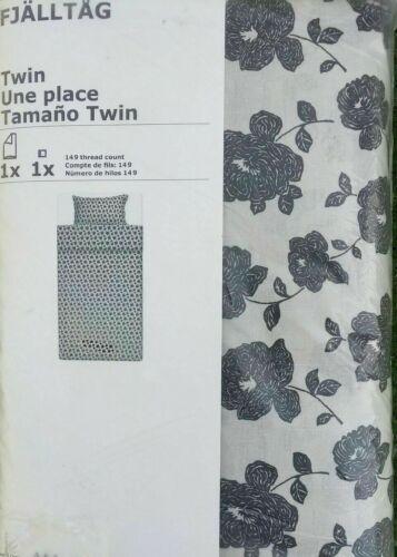 S boutons blanc cassé motif fleuri noir IKEA fjalltag de couette couette /& taie d/'oreiller