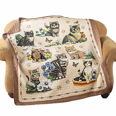 Quilted Cat Kitten Throw Blanket 60x50 Valentine/'s Day Gifts Grandma Mom Her