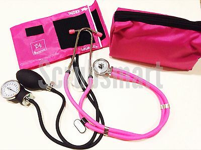 HOT PINK SET - Aneroid Sphygmomanometer Blood Pressure BP Monitor & Stethoscope