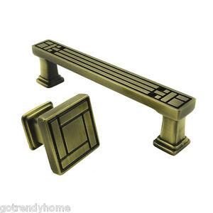 Antique Bronze Cabinet Square Knob Handles Drawer Pull