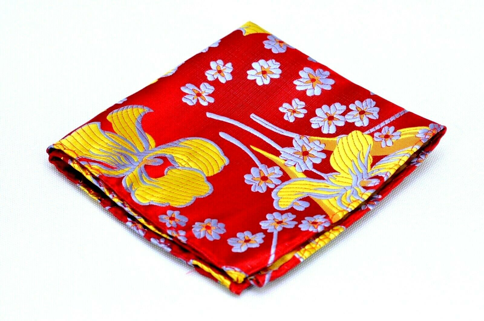 Lord R Colton Masterworks Pocket Square Ruby & Yellow Aftermath Silk Retail