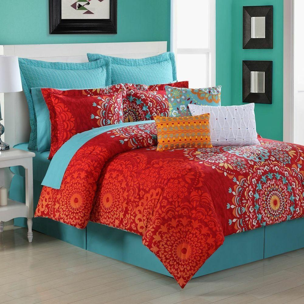 Fiesta Bedding Cozumel Boho Reversible 200TC Cotton TWIN Comforter Set 3pc