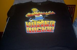 NEW! MENS HOMER SIMPSON ROCKS BLACK T SHIRT LARGE FREE USA SHIPPING ... 266bf7a0e24f