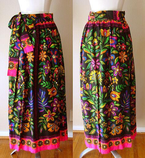 RARE VINTAGE ELLEN TRACY FLORAL LINED WRAP AROUND SKIRT SHIRT DRESS