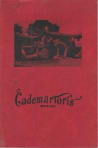 1940s CADEMARTORI'S Italian Restaurant Menu, Rancho Saucito Monterey, California