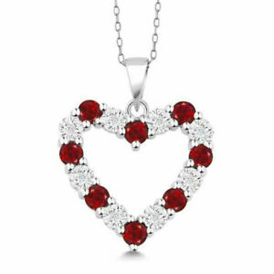 925-Sterling-Silver-2-25-Ct-Created-Ruby-Open-Heart-Pendant-Necklace-Jewelry