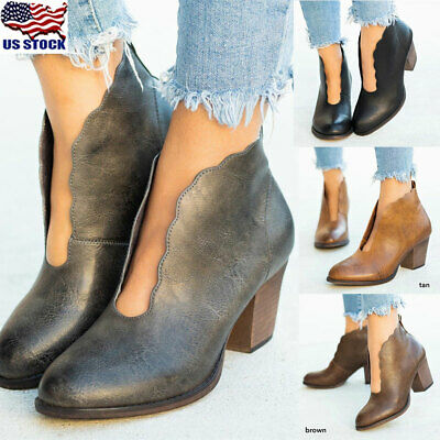 Women/'s Low Mid Block Heel Ankle Boots Ladies Chunky Booties Shoes Pointed Toe #