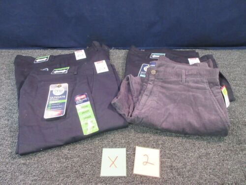 4 WRANGLER BLUE KHAKI PANTS 36X29 NO IRON PLEATED FLAT MEN CORDUROY CLOTHES LOT hot sale