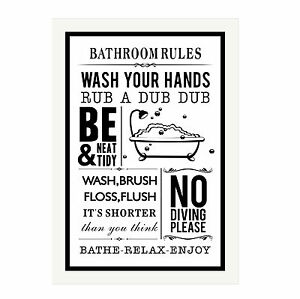 Bathroom Rules glass frame plaque - toilet, kitchen, house, bathroom rules | ebay