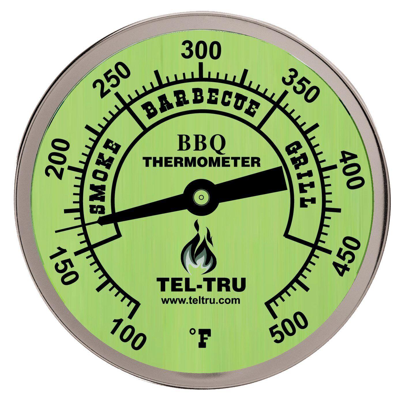 """2.5/"""" Stem Tel-Tru BQ300 Glow in the Dark BBQ Grill /& Smoker Thermometer 3/"""" Dial"""