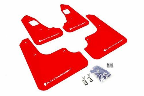 Rally Armor UR Red Mud Flap w// White Logo For 08-15 Mitsubishi Evo X