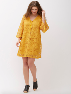 Lane-Bryant-Crochet-Lace-Up-Dress-Womens-Plus-22-24-26-28-Gold-3x-4x