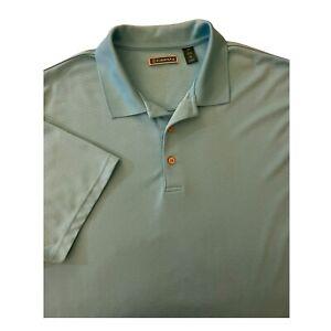 Mens Cubavera Golf Polo Shirt 3XL Ribbed Teal Green Short Sleeve ...