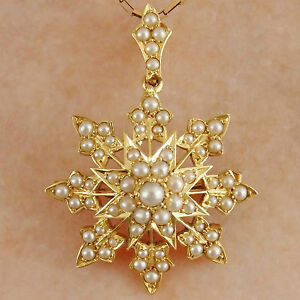 Stunning-Antique-Victorian-18ct-Gold-Pearl-set-Star-Motif-Pendant-Brooch-c1895