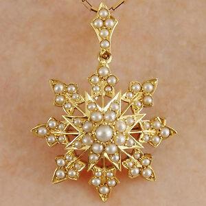 Stunning-Antique-Victorian-18ct-Gold-Pearl-set-Star-Motif-Pendant-Brooch-c1895