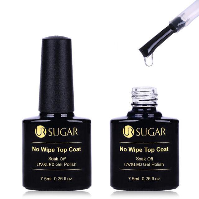 1 Bottle 7.5ml UR SUGAR Top Coat No Wipe UV Gel Soak Off Nail Art Polish Varnish