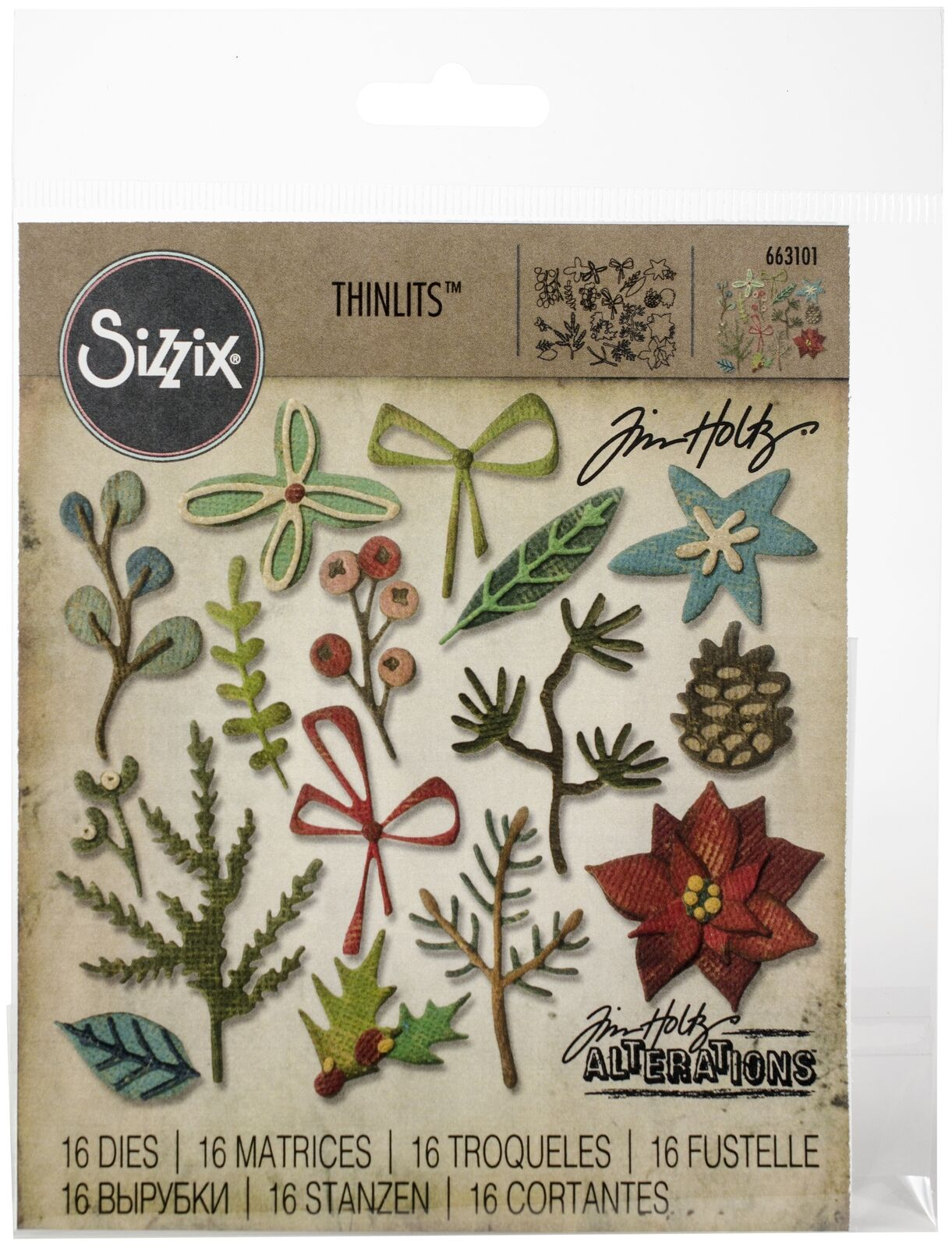 Sizzix Thinlits Die 665215 Funky Nature by Tim Holtz 10 Pack Multicolor