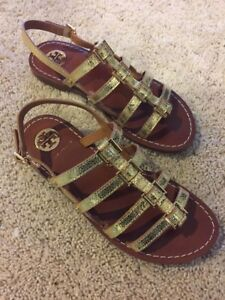 96a2ca31b44e Image is loading Tory-Burch-Reggie-Metallic-Gold-Logo-Gladiator-Sandals-