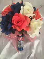 Marine Navy Blue Coral Calla Lily Bridal Bouquet Wedding Flower Package