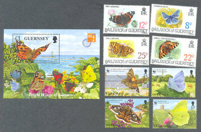 Alarm Butterflies & Moths-guernsey 2 Sets + Min Sheet Mnh-insects Goede Warmteconservering