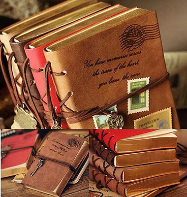 CE AU Retro Classic Vintage Leather Bound Blank Pages Journal Diary Notebook