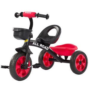 Capable Enfants Pédale Tricycle Noir/rouge Réglable Siège Avant Et Arrière Paniers 2 - 5