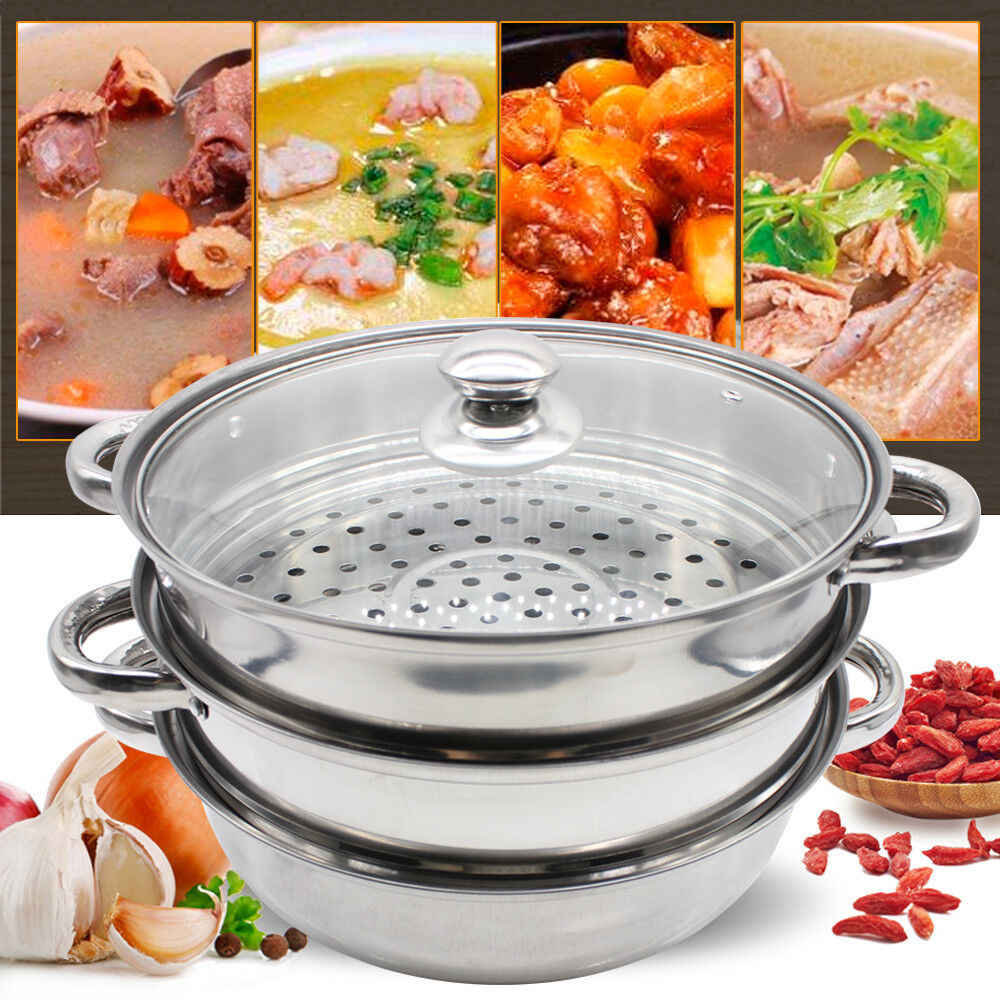 Casserole Induction Compatible Vitroceramique stainless steel cooker pot 3 tier 28cm steamer induction glass lid set  cookware